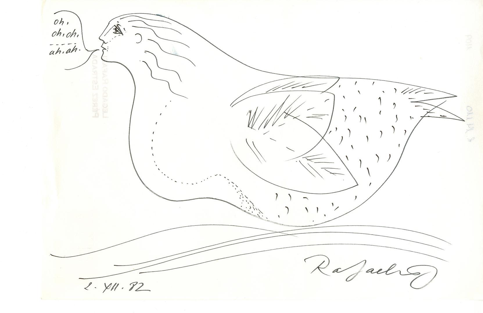 1982 - Dibujo de una mujer con el cuerpo de una gallina<div style='clear:both;width:100%;height:0px;'></div><span class='cat'>Dibujos, Drawings</span>