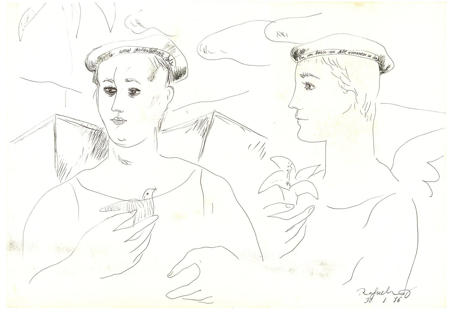 1986 - Dibujo de dos hombres uno con un pájaro en la mano y el otro con una flor<div style='clear:both;width:100%;height:0px;'></div><span class='cat'>Dibujos, Drawings</span>