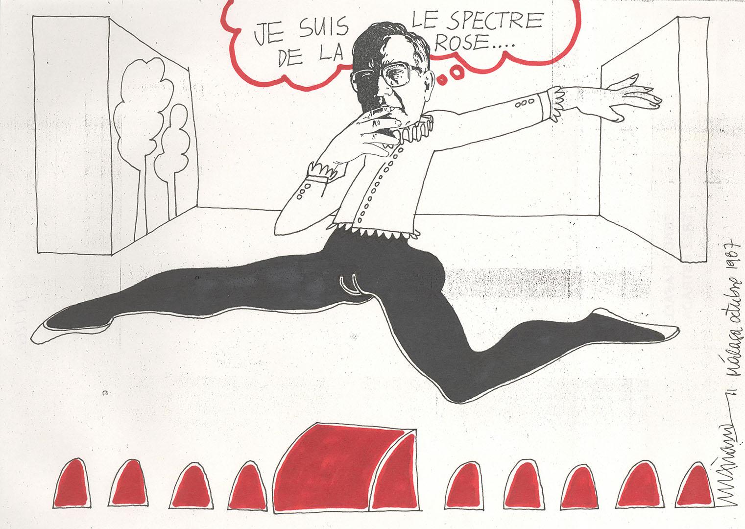 1987 - Dibujo de un bailarin con la cara de Rafael Pérez Estrada<div style='clear:both;width:100%;height:0px;'></div><span class='cat'>Dibujos, Drawings</span>