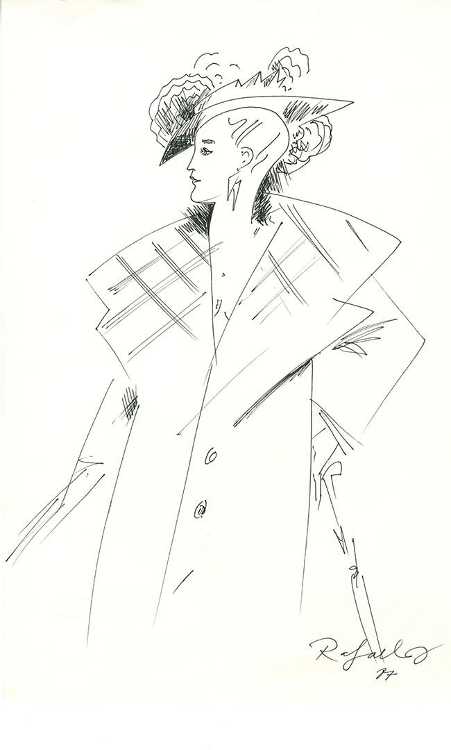 1987 - Dibujo de una mujer con un gran abrigo y sombrero y un paraguas en la mano<div style='clear:both;width:100%;height:0px;'></div><span class='cat'>Dibujos, Drawings</span>