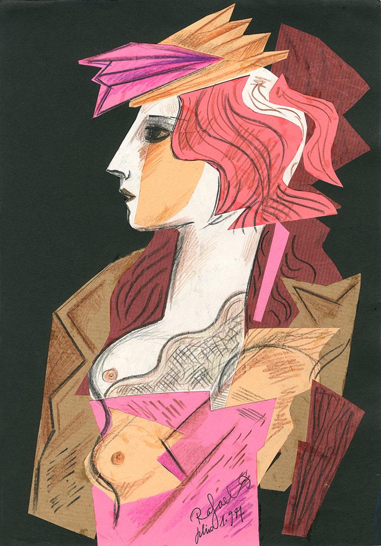 1987 - Dibujo de una mujer de perfil con el pecho desnudo<div style='clear:both;width:100%;height:0px;'></div><span class='cat'>Dibujos, Drawings</span>