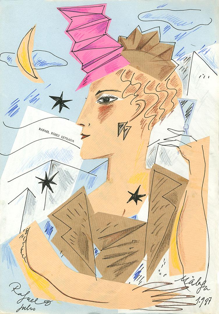 1987 - Dibujo de una mujer de perfil con un sombrero geometrico<div style='clear:both;width:100%;height:0px;'></div><span class='cat'>Dibujos, Drawings</span>