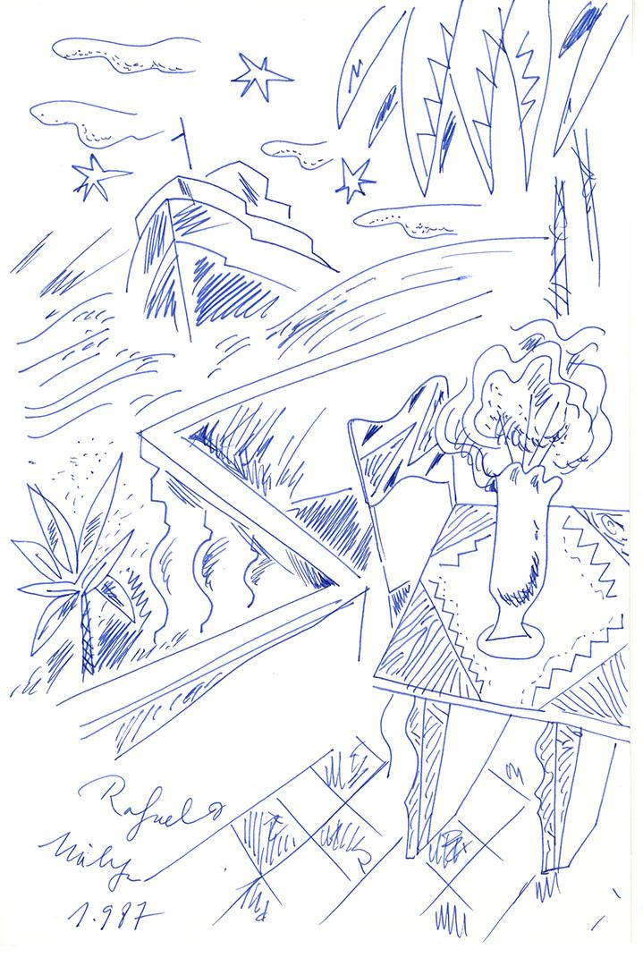 1987 - Dibujo de una terraza desde la que vemos la playa con un barco y palmeras<div style='clear:both;width:100%;height:0px;'></div><span class='cat'>Dibujos, Drawings</span>