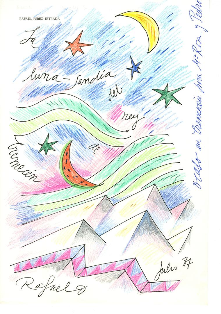 1987 - La luna - sandía del rey de Cremecen<div style='clear:both;width:100%;height:0px;'></div><span class='cat'>Dibujos, Drawings</span>