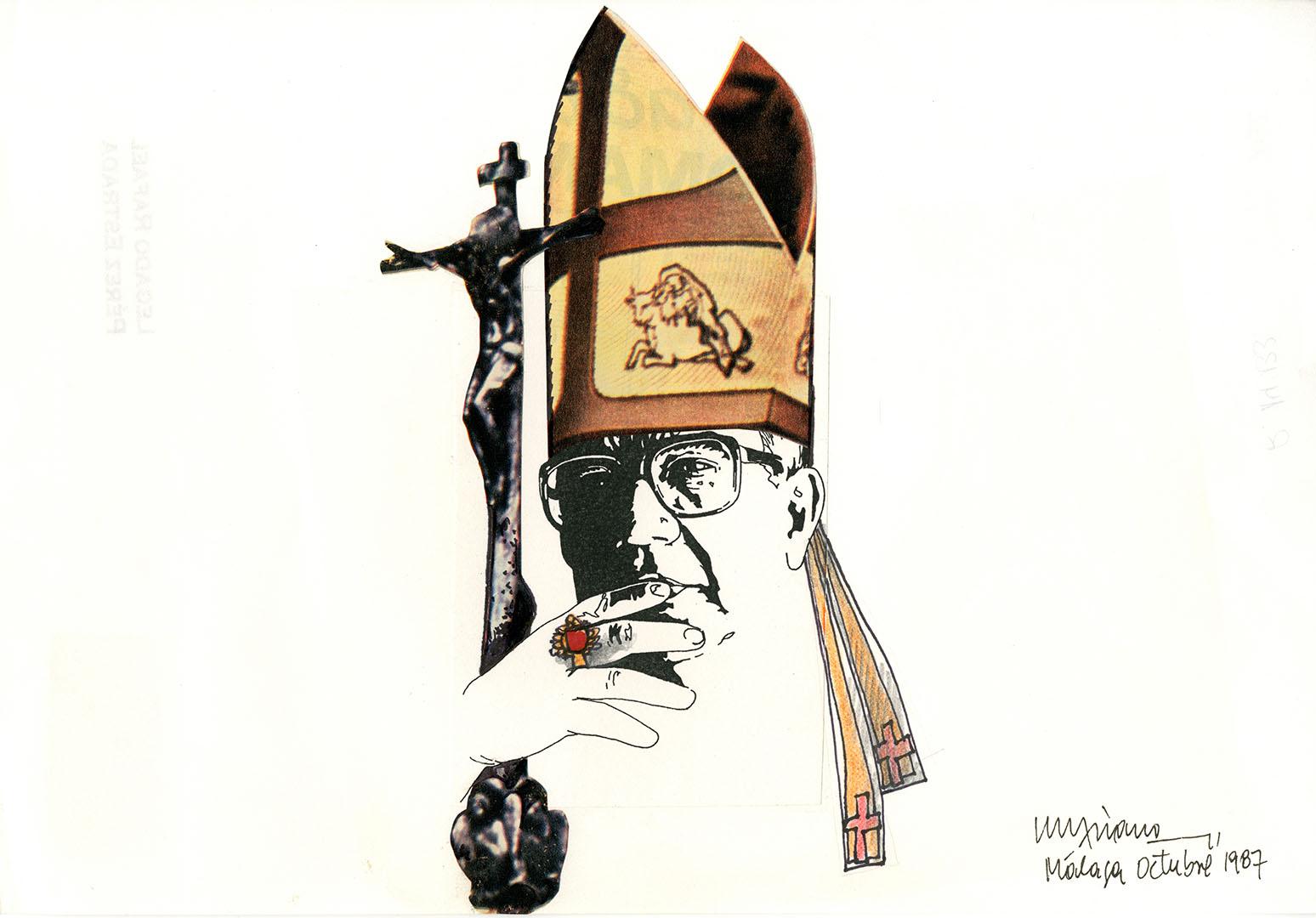 1987 - Retrato de Rafael Pérez Estrada vestido de obispo<div style='clear:both;width:100%;height:0px;'></div><span class='cat'>Dibujos, Drawings</span>