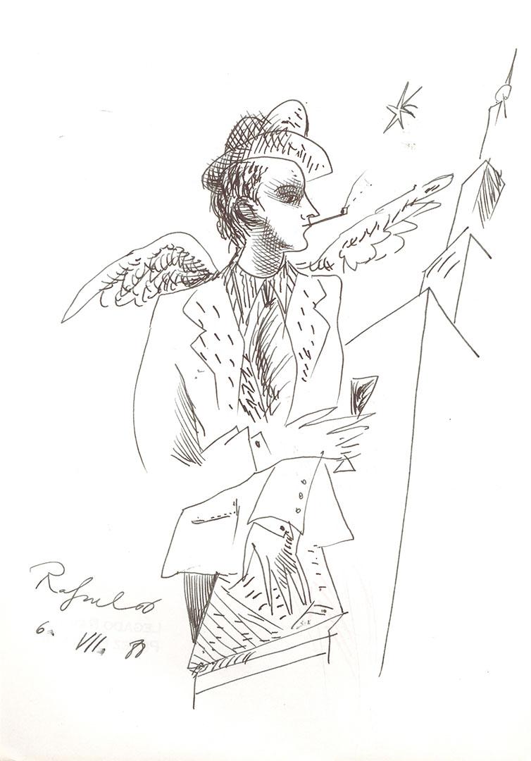 1988 - Dibujo de un hombre con alas fumando y con una copa en la mano<div style='clear:both;width:100%;height:0px;'></div><span class='cat'>Dibujos, Drawings</span>