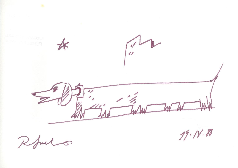 1988 - Dibujo de un perro con el cuerpo muy alargado y con cinco pares de patas<div style='clear:both;width:100%;height:0px;'></div><span class='cat'>Dibujos, Drawings</span>