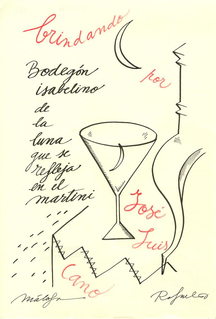 1991 - Brindando por José Luís Cano - Bodegón isabelino de la luna que se refleja en el martini<div style='clear:both;width:100%;height:0px;'></div><span class='cat'>Dibujos, Drawings</span>