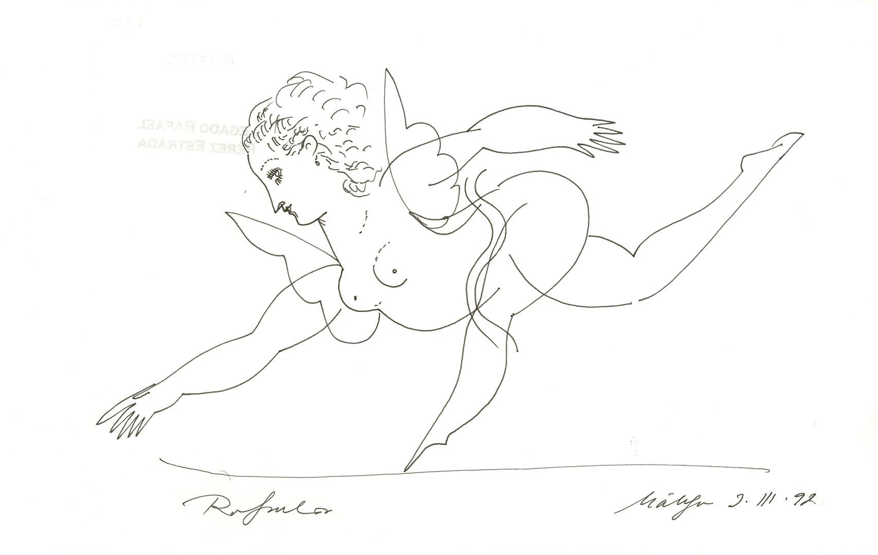 1992 - Dibujo de una mujer desnuda con alas y una pierna levantada<div style='clear:both;width:100%;height:0px;'></div><span class='cat'>Dibujos, Drawings</span>